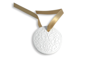Bulgari pendent with thin and detailed embossing + satin ribbon
